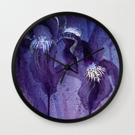 Iris, Blue and Purple Flowers Wall Clock