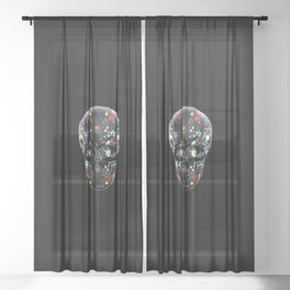 Super Cool Artsy Skull Sheer Curtain