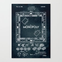 1935 - Board game apparatus (Monopoly) Canvas Print