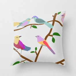 Birds on a tree Throw Pillow