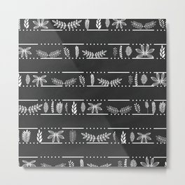 Modern chalk black abstract white floral stripes Metal Print