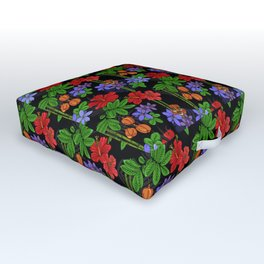 Jamaican Flowers and Fruits Tropical Pattern Outdoor Floor Cushion