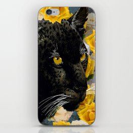 BLACK PANTHER AND YELLOW ROSES iPhone Skin
