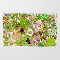 Detailed summer floral pattern, green Rug