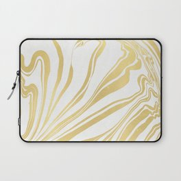 Bronze Copper Gold Rush Marble Ink Swirl Laptop Sleeve