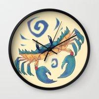 crab Wall Clocks featuring Crab by Anya McNaughton