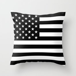 American Flag - Black and White Version Throw Pillow