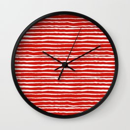 Minimal Christmas red and white holiday pattern stripes candy cane stripe pattern Wall Clock