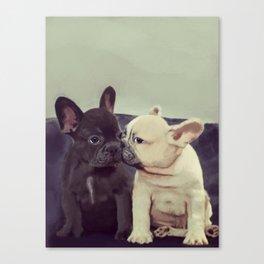 Frenchie kiss Canvas Print