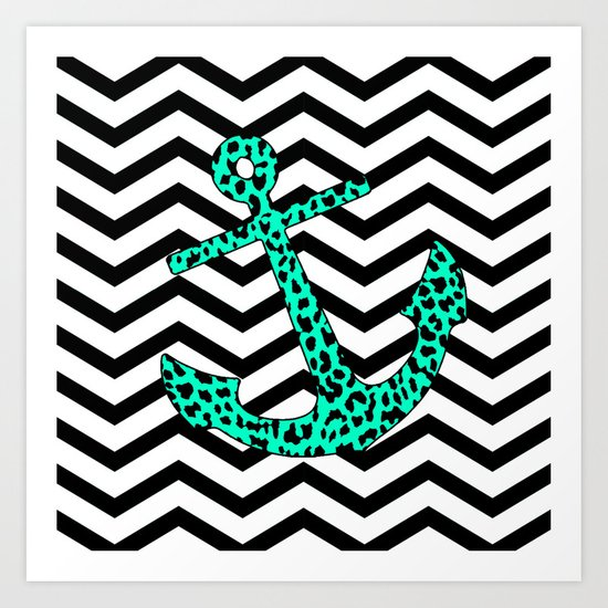 Mint Leopard Chevron Anchor Art Print