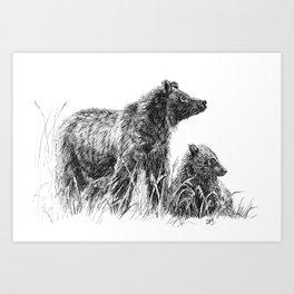 Bear guarding her cub Art Print