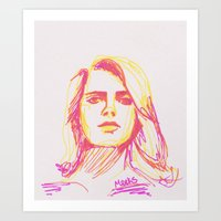 lana Art Prints featuring Lana by Aubrey Meeks