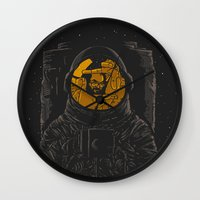 dark side of the moon Wall Clocks featuring Dark side of the moon by Rodrigo Ferreira