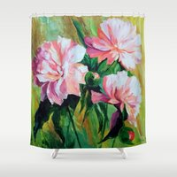 peonies Shower Curtains featuring Peonies by OLHADARCHUK