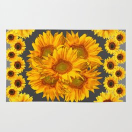 Ornate Charcoal Grey Sunflowers Pattern Rug