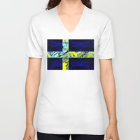 sweden V-neck T-shirts featuring circuit board Sweden (Flag) by seb mcnulty