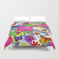 florence Duvet Covers featuring Florence  by sarah illustration