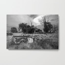Half Truck - Rusty Old Pickup Bed and Abandoned House in Oklahoma Panhandle Metal Print