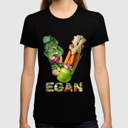 Vegan design and vegetarian or veganism healthy eating lifestyle T-shirt