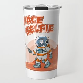 Astronaut making selfie. Modern creative illustration men with phone in universe on red planer with Travel Mug