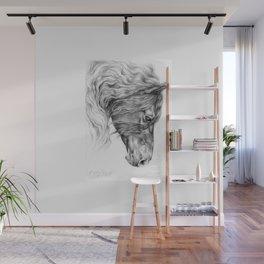 BLACK FRIESIAN HORSE portrait Black & White pencil drawing Wall Mural