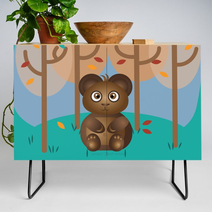 Brown_Cub_Sitting_in_the_Woods_Credenza_by_iCraftCafAc__Black__Birch