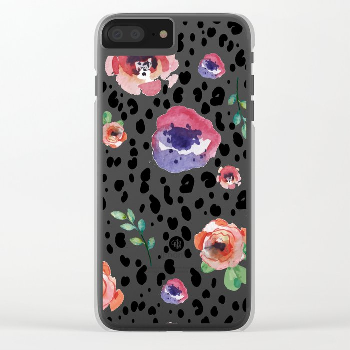 Abstract animal flowers Clear iPhone Case