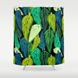 Watercolor Macrame Feather Toss in Black + Green Shower Curtain