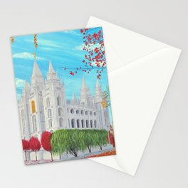 Salt Lake City, Utah LDS Temple in Autumn Stationery Cards