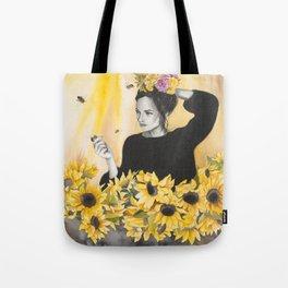 Sunflowers & Honey Bees Tote Bag