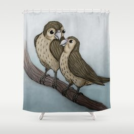 Love sparrows Shower Curtain