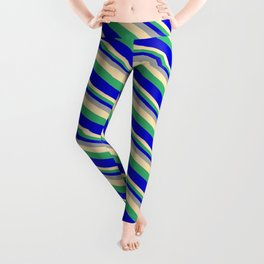 Dark Grey, Beige, Sea Green, and Blue Colored Lined Pattern Leggings