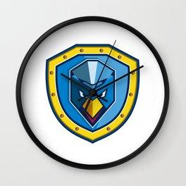 Blue Chicken Mohawk Shield Icon Wall Clock