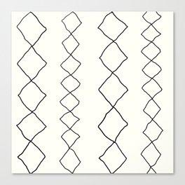 Moroccan Diamond Stripe in Black and White Canvas Print