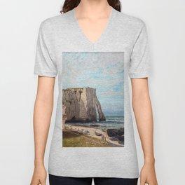 Gustave Courbet - Cliffs at Etretat after storm Unisex V-Neck