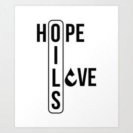CUTE PRETTY ESSENTIAL OIL DIFFUSER printS - HOPE LOVE Art Print
