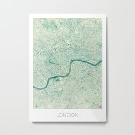 London Map Blue Vintage Metal Print