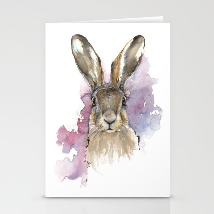 Hare portrait Stationery Cards