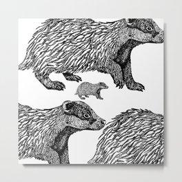 British Badger Zentangle Metal Print