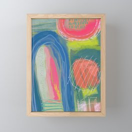 Shapes and Layers no.27 - Abstract Painting gouache and pastels Framed Mini Art Print