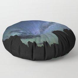 Milky Way Mountains Silhouette Floor Pillow