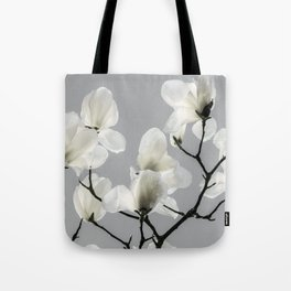 Gray Magnolia and White Tote Bag