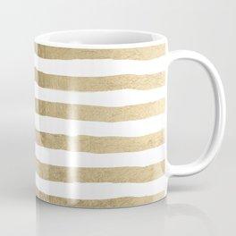 White faux gold elegant modern striped pattern Coffee Mug