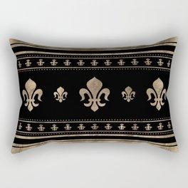 Fleur-de-lis Luxury ornament - black and gold Rectangular Pillow