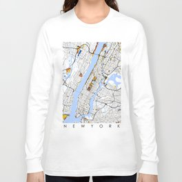 New York City Map United States Mondrian color Long Sleeve T-shirt