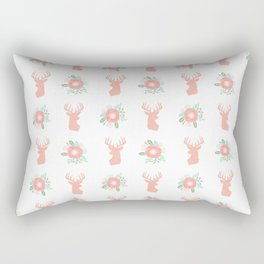Deer florals antlers deer silhouette floral pattern pastel pink mint coral Rectangular Pillow
