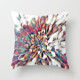Japanese Inspired Lily Design Sketch Throw Pillow