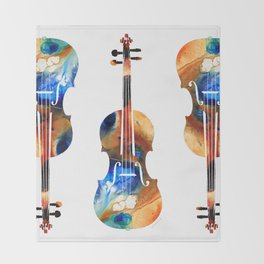Violin Art By Sharon Cummings Throw Blanket