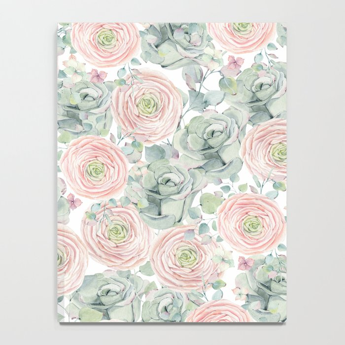Flowers And Succulents White  #buyart #decor #society6 Notebook