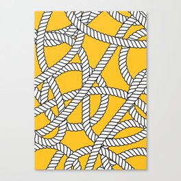 Nautical Yellow Rope Pattern Repeat Canvas Print